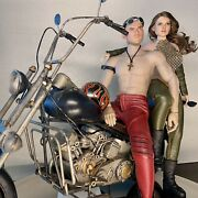 Harley Hot Biker Couple Sexy Bike Week Inspired 16 Posable Doll Diorama +ooak