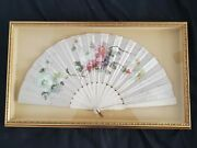 Antique 1880s French Hand Painted Flowers Silk Framed Fan