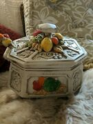 Vintage Set Majolica Soup Bowl With Spoon And Lid. Signed Rf 408. Size 10x6x8