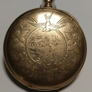 Elgin Pocket Watch 1900 16s 7j Movement 8k Solid Gold Case For Parts Or Repair