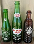 3 Acl Soda Bottles And03965 Kickapoo And03952 7-up Bubble Girl And03964 Ribbed Orange Crush