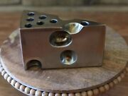 Vintage Brass Pencil Pen Holder Paper Weight Cheese Wedge 70's Mid Century