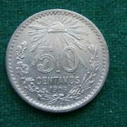 1906 Mexico Silver 50 Cents Radiant Cap Mexican Coins Km 445 Xf