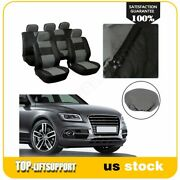 Car Seat Covers 9pcs Pu Vinyl Leather Black Gray Front And Rear For Lexus Lincoln