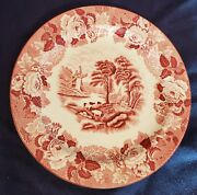 """Vintage Enoch Woods English Scenery Woods Ware Red Dinner Plate 9"""""""