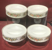 Set Of 4 Vintage Corning Spice Of Life See N Store Glass Stackable Containers