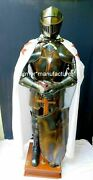 Medieval Knight Suit Of Templar Armor W/ Sword Combat Full Body Armour Stand