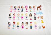 21 Lego Friends Minifigs And Accessories And 9 Animals Lot