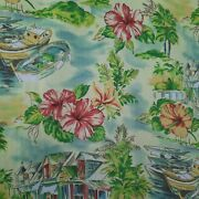 Pair Waverly Tropical Barkcloth Type Drapes Curtains Hibiscus Boats
