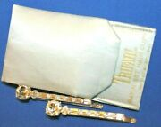 Pristine And Rare Crown Trifari Signed Rhinestone Hair Clips With Pouch-omg