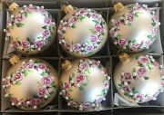 Set 6 Czech Hand Painted Glass Rose Floral Pearl Christmas Tree Ornaments