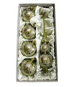 Set 5 Czech Blown Glass Christmas Tree Ornaments Baubles And Topper Gold Green