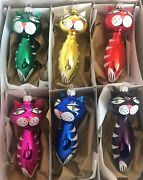 Set 6 Large Czech Hand Painted Glass Cat Christmas Tree Ornaments