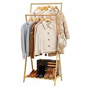 Bamboo Garment Coat Clothes Hanging Heavy Duty Rack Foldable Space Saving X