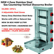 New Stainless Steel 4 Zone Gas Gyro Al Pastor Shawarma Machine Vertical Broiler