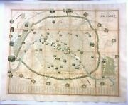 Very Large Pictorial Map Of Paris France 1845 By Vuillemin 19th Century On Linen