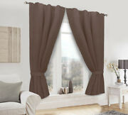 Eco 100 Linen Window 2pc Curtain Nature Material Stylish Brown Green Russian