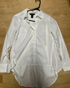 White Hous Black Market Blouse White Shirt Size 2