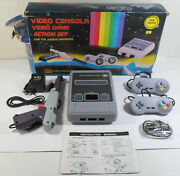 Video Console Action Set Tv Game Clone W/ Nes Games European Pal Works Mib