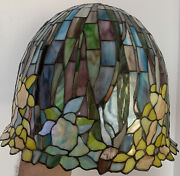 """Vtg Style Stained Glass Lamp Shade, 18"""" Diameter, 15"""" Height, Rare Shape"""