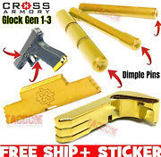 Cross Armory Gold For Glock Gen 3 Dimple Pins Extended Magazine Catch Slide Lock