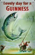Guinness Fish Tin Sign Shield 3d Embossed Arched Metal 7 7/8x11 13/16in