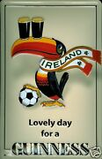 Guinness Football Tin Sign Shield 3d Embossed Arched 7 7/8x11 13/16in