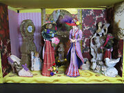 Group Of Victorian Ladies Girls Porcelain Resin Bamboo Figurines In Wooden Displ