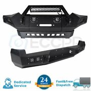 For Toyota Tacoma 05-15 Front + Rear Bumper Assembly Black Steel W Led Lights