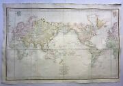 World Map 1797 La Perouse Very Large Antique Engraved Map 18th Century