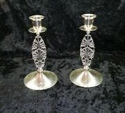 Pair And Co Makers Sterling Silver Candlesticks Blossoms Leaves 23152