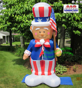 8 1/2and039and039 Self-inflatable Lighted American Patriotic Uncle Sam With Flag