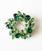 Unique Vintage Green Silver Sherman Brooch Marked 1950s Mid Century Jewelry