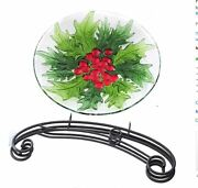 Bird Bath Evergreen Flag And Garden Holiday Holly And Berries New In Box
