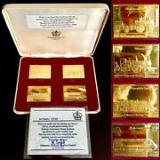 Rare 150th Railway Anniversary 1825-1975 Gold Plated Silver Stamp Replica Set