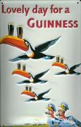 Guinness Flying Toucans Tin Sign Shield 3d Embossed Metal 7 7/8x11 13/16in
