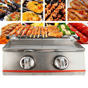 Portable Stainless Bbq Tabletop 2 Burners Gas Silver Camping Adjustable