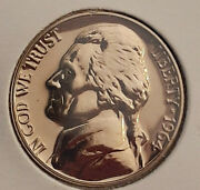 1964 Proof Mirror Finish Jefferson Nickle 5 Cents