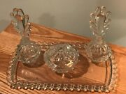 Candlewick Dresser Set Of Perfume Bottles Covered Jar And Boopie Glass Tray