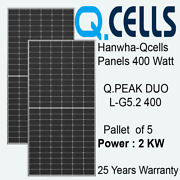 400 Watt Hanwha Qcells Solar Panels - Q.peak Duo L-g5.2 - Pallet Of 5- Power 2kw
