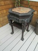 Antique Chinese 19thc Zhi Wood Highly Carved Marble Top Inset Table
