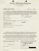 Lee Marvin - Contract Signed 10/22/1953