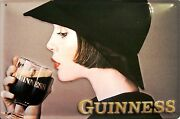 Guinness Drinking Lady Tin Sign Shield 3d Embossed Arched 7 7/8x11 13/16in