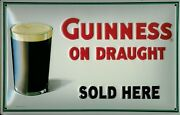 Guinness On Draught Tin Sign Shield 3d Embossed Arched 7 7/8x11 13/16in