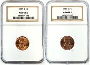 1955 2-coin Set Of Lincoln Penny 1c Denver And San Francisco Mint Ngc Ms66 Red Rd