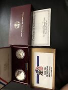 1992 Olympic Commemorative Silver Dollar 2-coin Set Of 3 Coin Set Proof