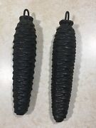 2 Cuckoo Clock Weights - Matched Pair Cast Iron Wire Hook 4.5 8.8 Ounces Each