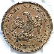 1837 Ht-73 Pcgs Au 58 Half Cent Worth Of Copper Hard Times Token