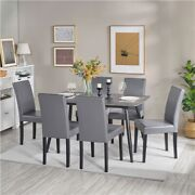 Dining Chairs High Back Pu Leather Chair With Wood Legs For Home And Restaurant