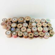Vintage Lot Of 38 Wooden Cotton Thread Reel Sewing Spools